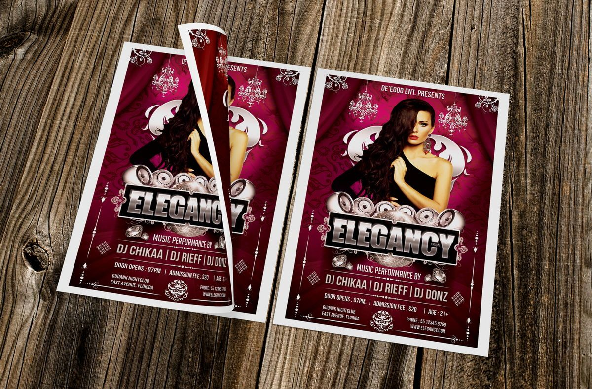 Elegancy Party Flyer Template, 08635, Art & Entertainment — PoweredTemplate.com