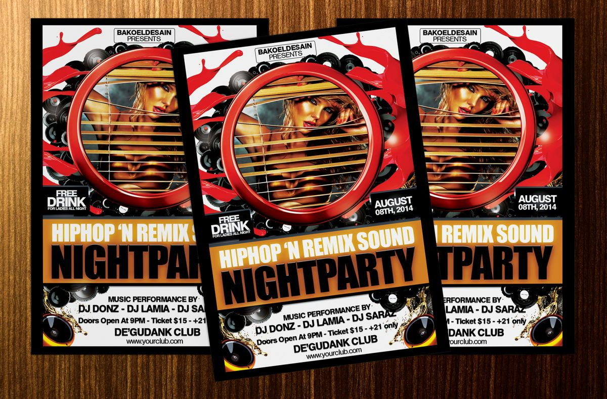 Hiphop and Remix Sound Night Party Template, Slide 2, 08636, Art & Entertainment — PoweredTemplate.com