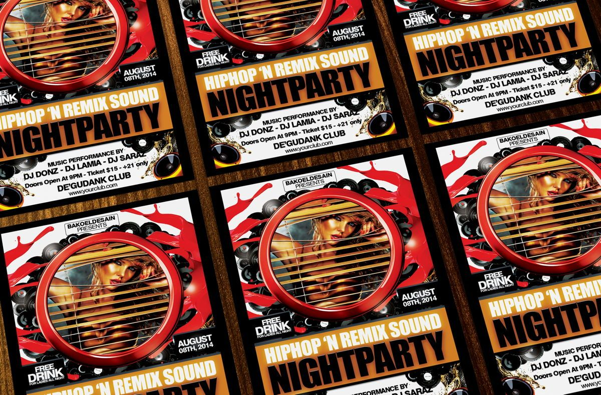 Hiphop and Remix Sound Night Party Template, Slide 3, 08636, Art & Entertainment — PoweredTemplate.com