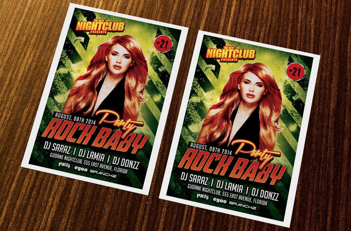 Rock Baby Party Flyer Template, 08638, Art & Entertainment — PoweredTemplate.com