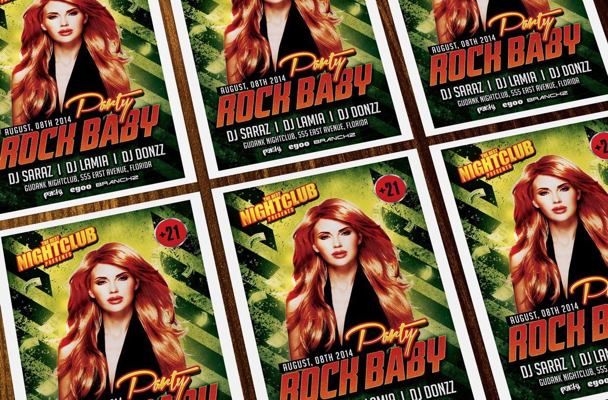 Rock Baby Party Flyer Template, Slide 2, 08638, Art & Entertainment — PoweredTemplate.com