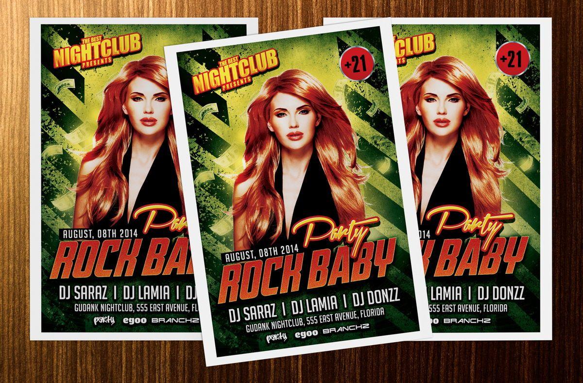 Rock Baby Party Flyer Template, Slide 4, 08638, Art & Entertainment — PoweredTemplate.com