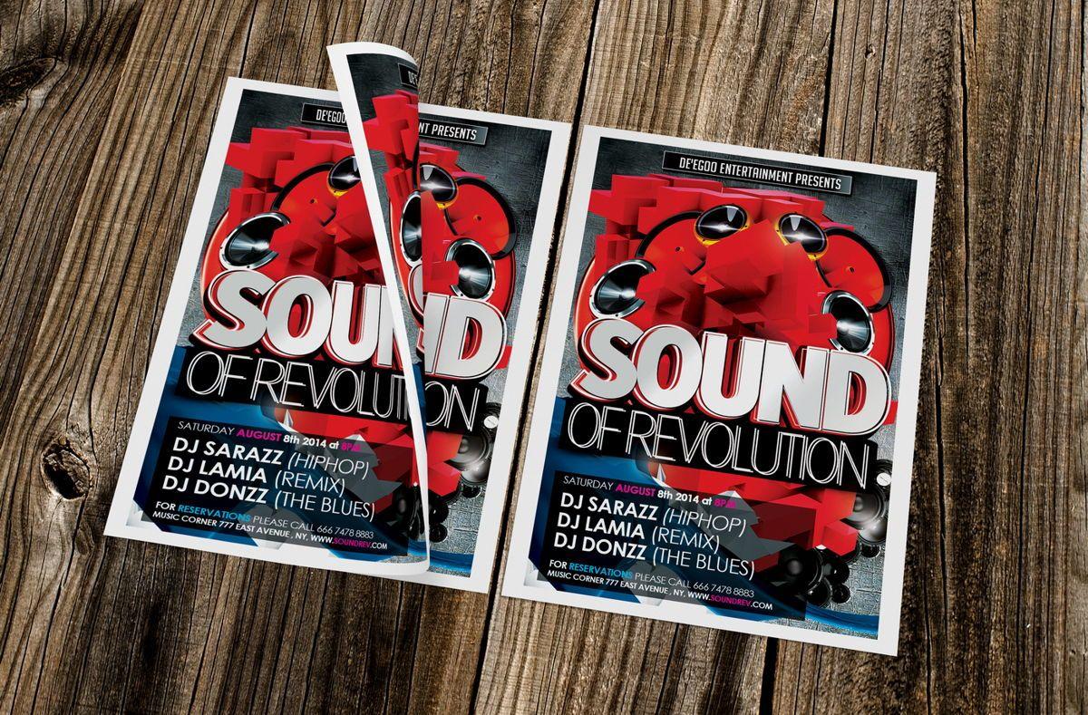 Sound of Revolution Flyer Template, 08639, Art & Entertainment — PoweredTemplate.com