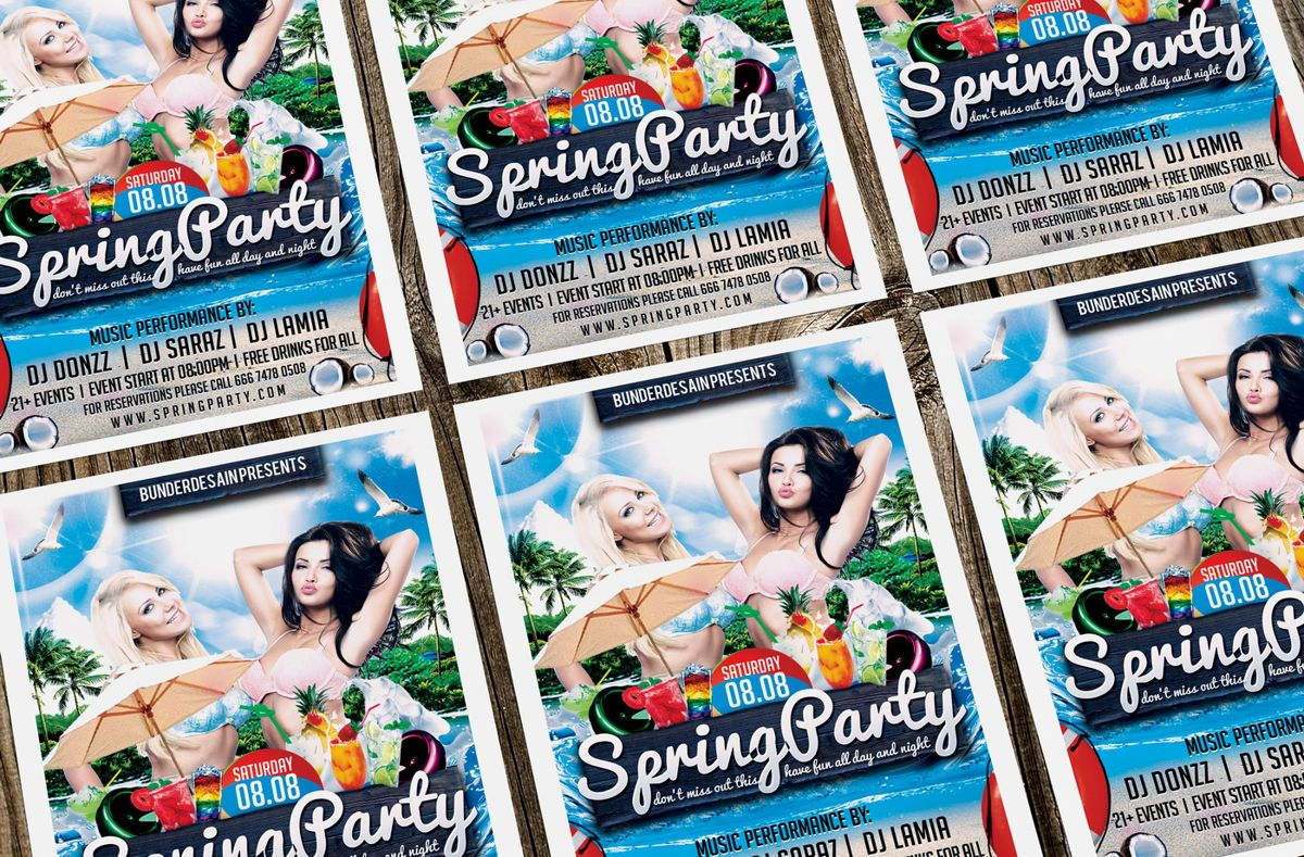 Spring Party Flyer Template, Slide 2, 08640, Art & Entertainment — PoweredTemplate.com