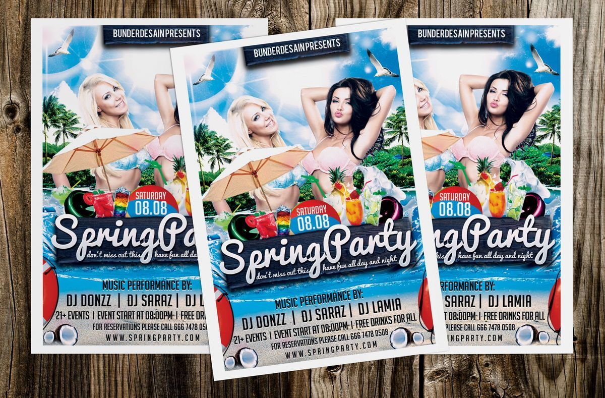 Spring Party Flyer Template, Slide 4, 08640, Art & Entertainment — PoweredTemplate.com