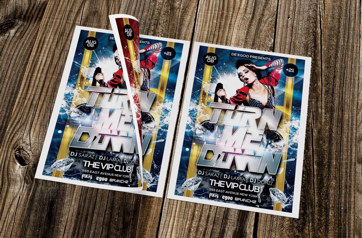 Turn Me Down Party Flyer Template, 08641, Art & Entertainment — PoweredTemplate.com