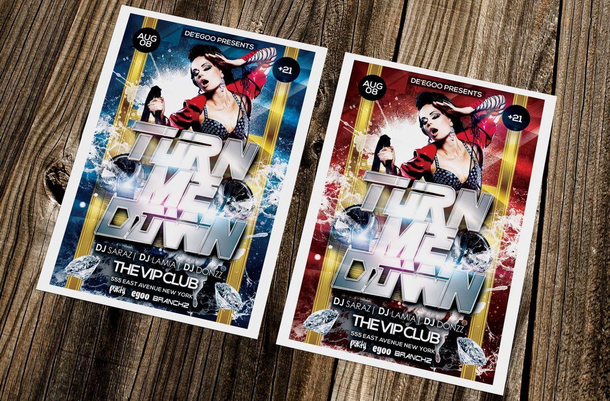 Turn Me Down Party Flyer Template, Slide 2, 08641, Art & Entertainment — PoweredTemplate.com