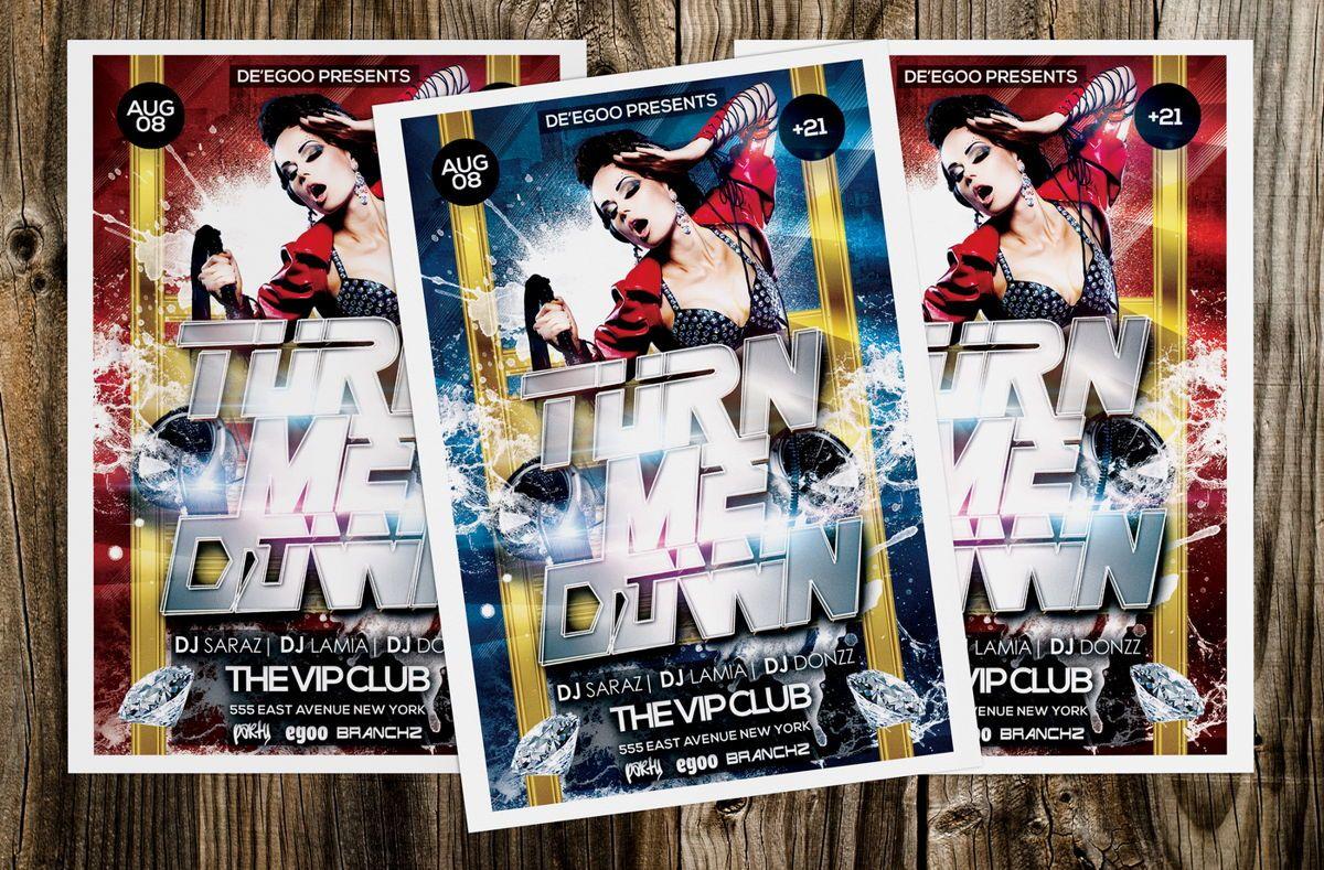 Turn Me Down Party Flyer Template, Slide 4, 08641, Art & Entertainment — PoweredTemplate.com