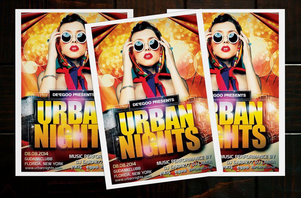 Urban Nights Party Flyer Template, Slide 2, 08642, Art & Entertainment — PoweredTemplate.com
