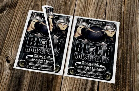 Art & Entertainment: Black House Party Flyer Template #08646