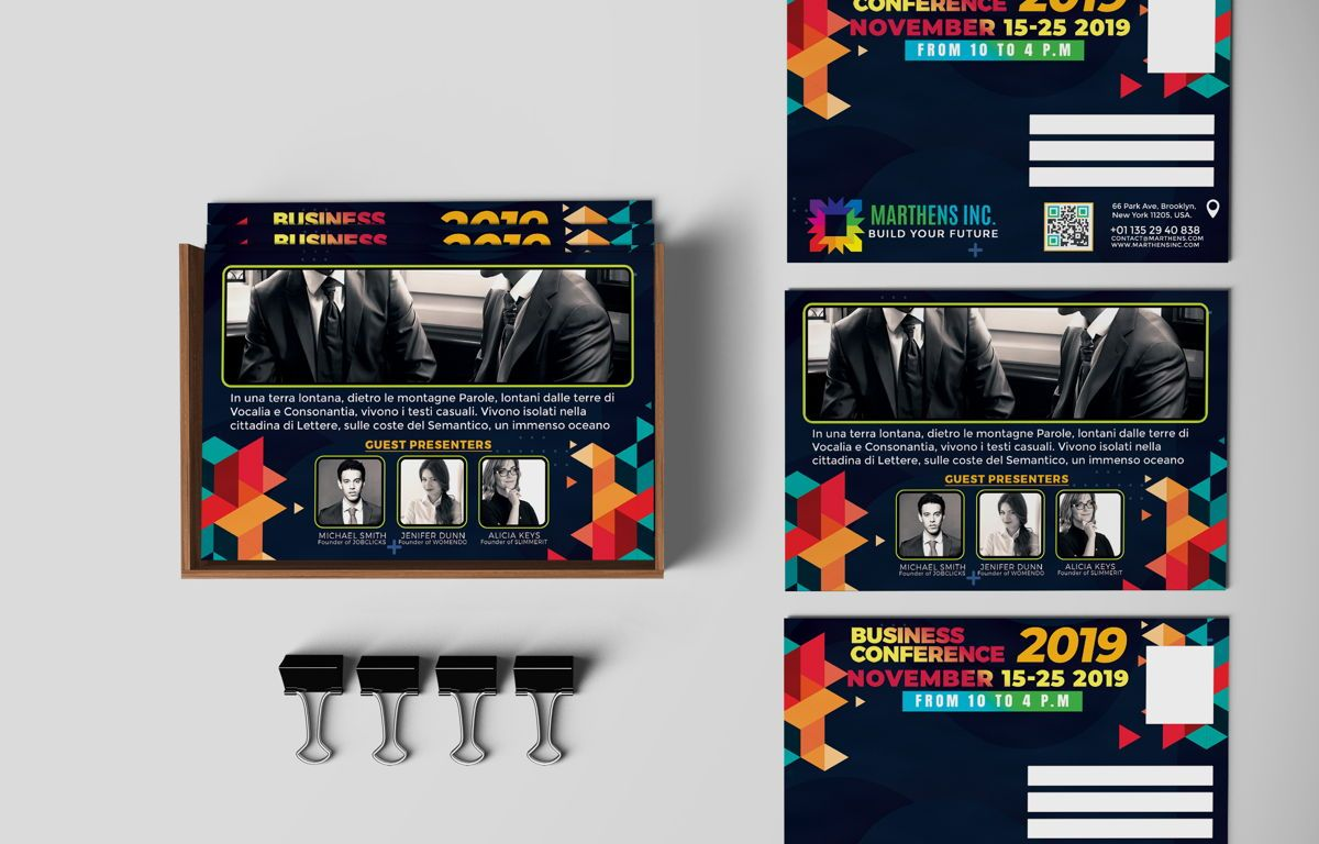 Business Conference PostCard Template, 08649, Business — PoweredTemplate.com