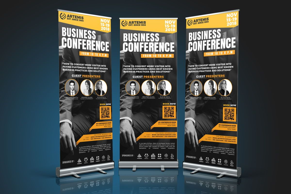 Business Conference Roll-Up Banner Template, 08650, Business — PoweredTemplate.com