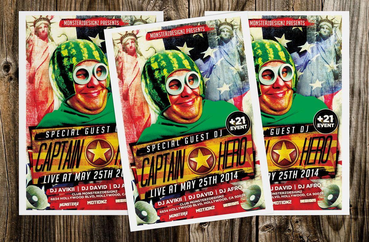Captain Hero Party Flyer Template, 08651, Art & Entertainment — PoweredTemplate.com