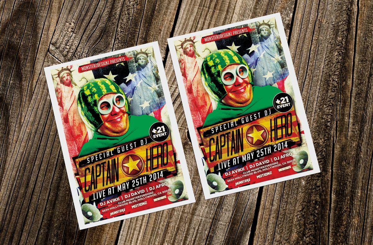 Captain Hero Party Flyer Template, Slide 2, 08651, Art & Entertainment — PoweredTemplate.com