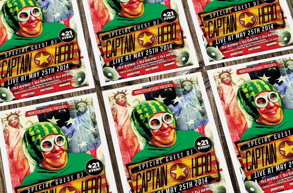 Captain Hero Party Flyer Template, Slide 4, 08651, Art & Entertainment — PoweredTemplate.com