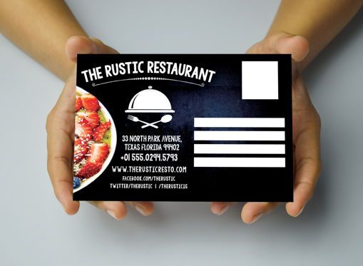 Business: Chalk Styles Restaurant PostCard Template #08652