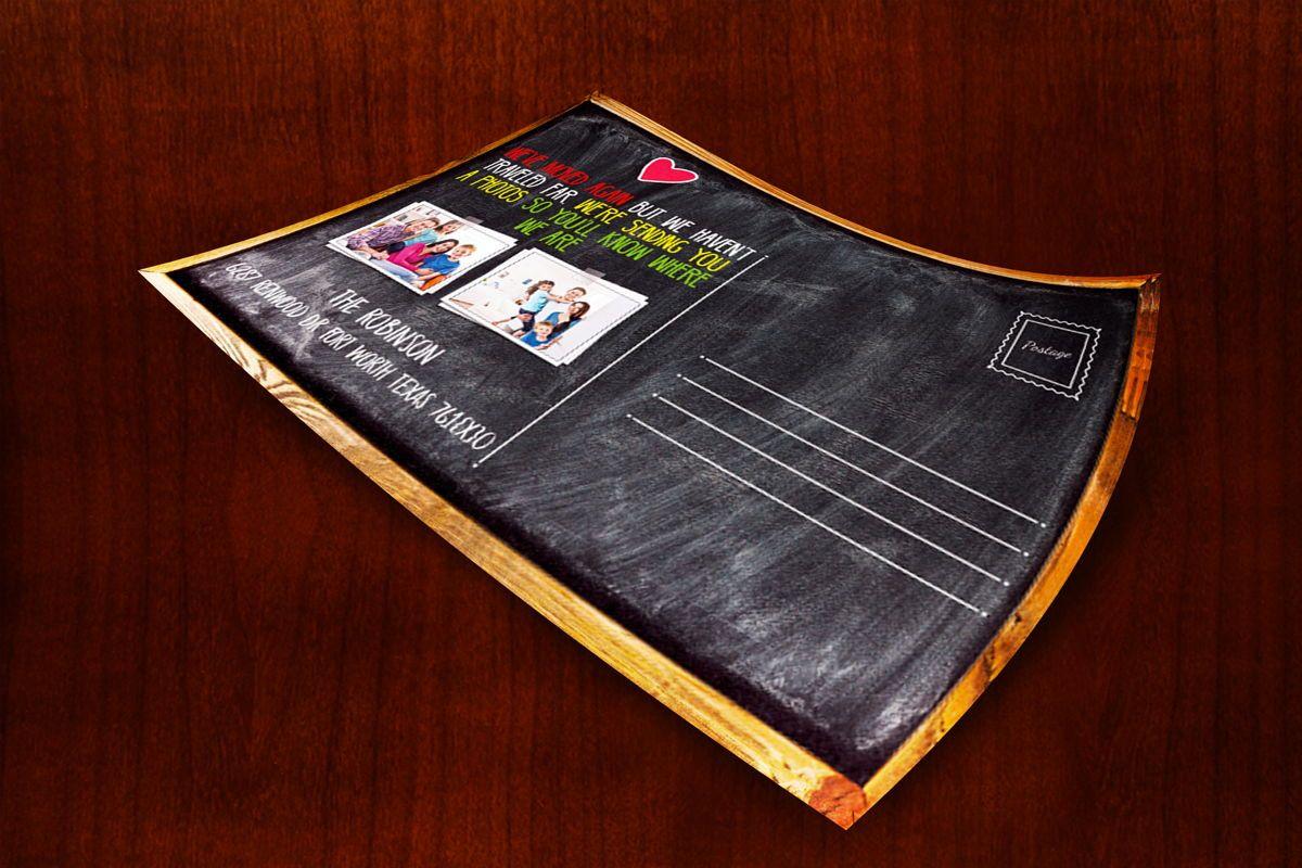 Chalkboard Moving Announcements Card Template, 08653, Business — PoweredTemplate.com