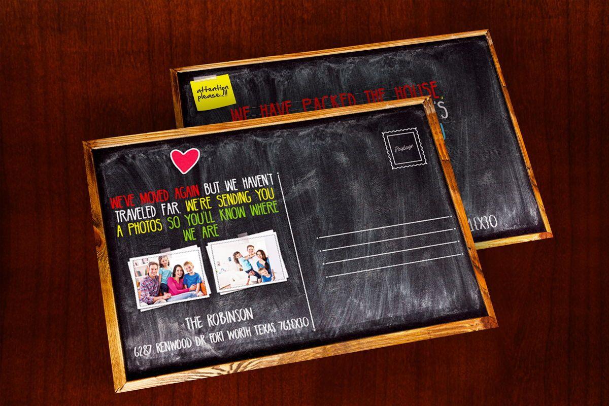 Chalkboard Moving Announcements Card Template, Slide 2, 08653, Business — PoweredTemplate.com