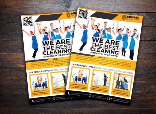 Business: Cleaning Service Company Flyer Template #08657