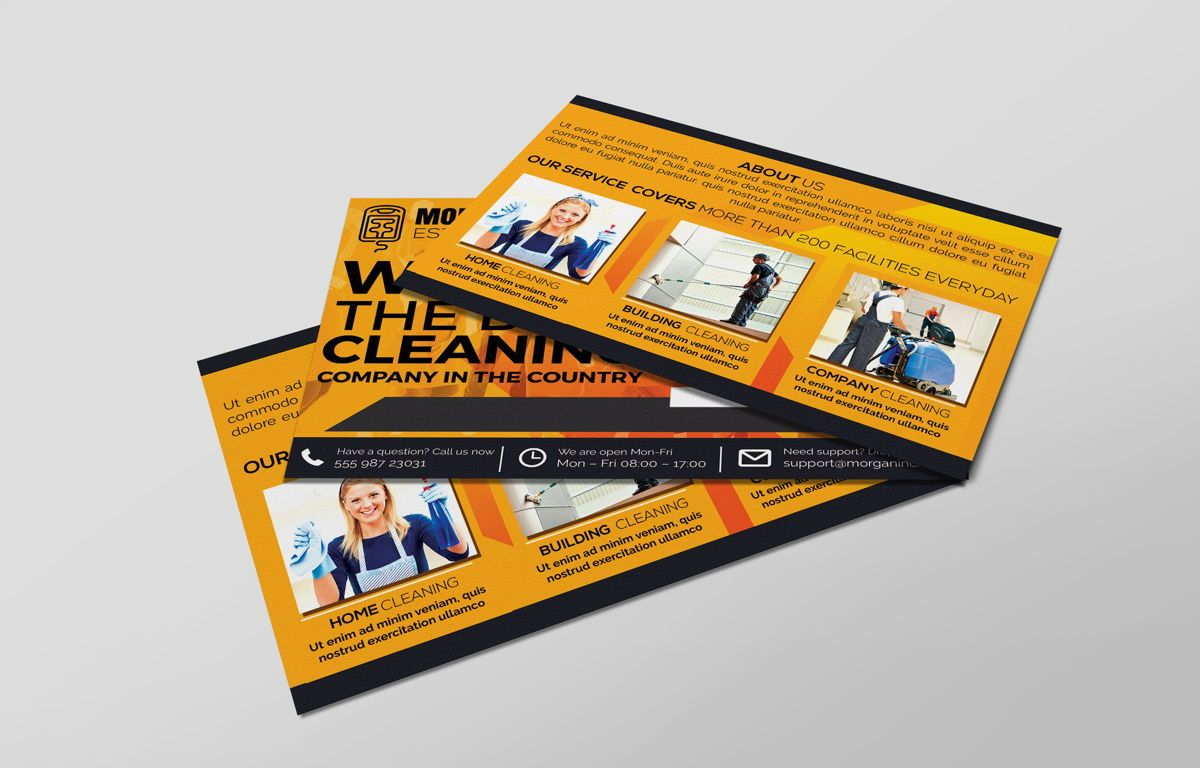 Cleaning Service Company Promotion PostCard, Slide 5, 08658, Business — PoweredTemplate.com