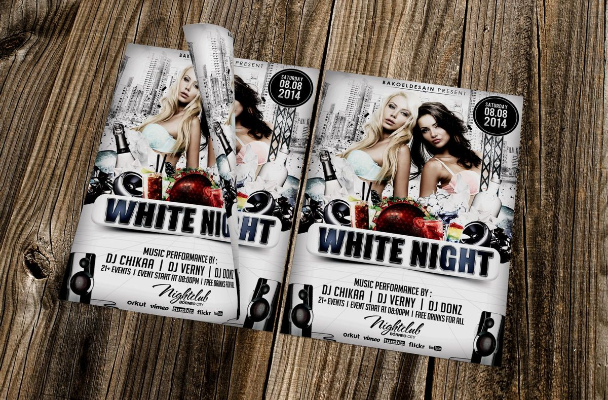 White Night Party Flyer Template, 08671, Art & Entertainment — PoweredTemplate.com