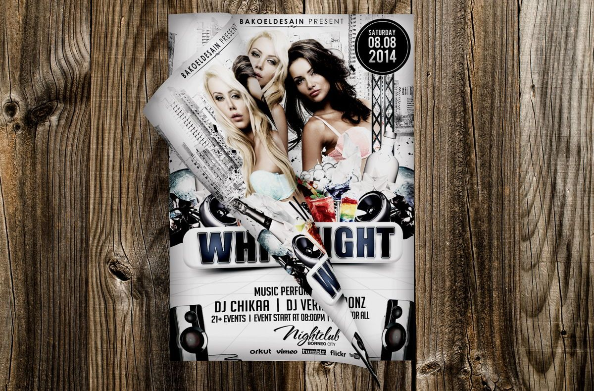 White Night Party Flyer Template, Slide 3, 08671, Art & Entertainment — PoweredTemplate.com