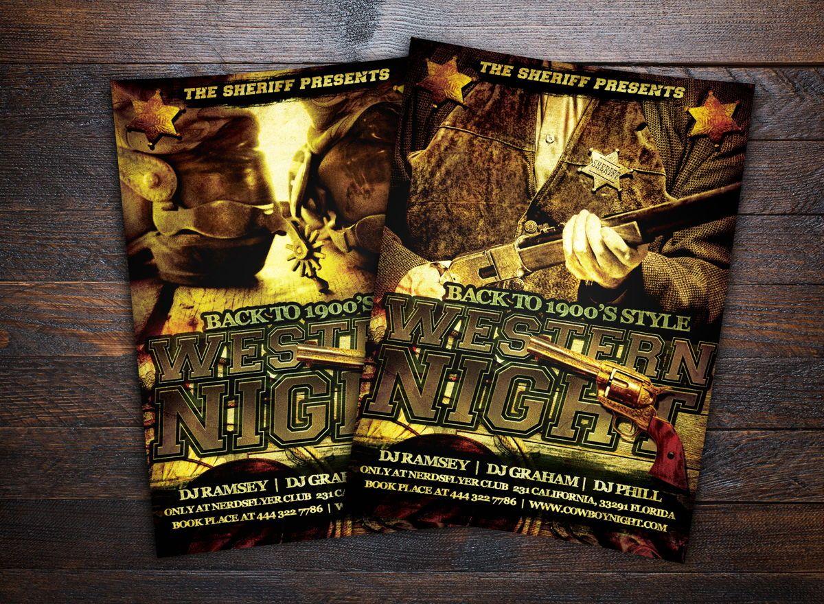 Wild Wild West Party Flyer Template, 08672, Art & Entertainment — PoweredTemplate.com