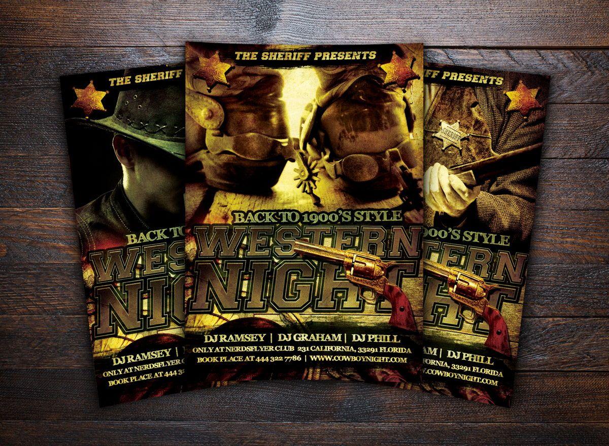 Wild Wild West Party Flyer Template, Slide 2, 08672, Art & Entertainment — PoweredTemplate.com