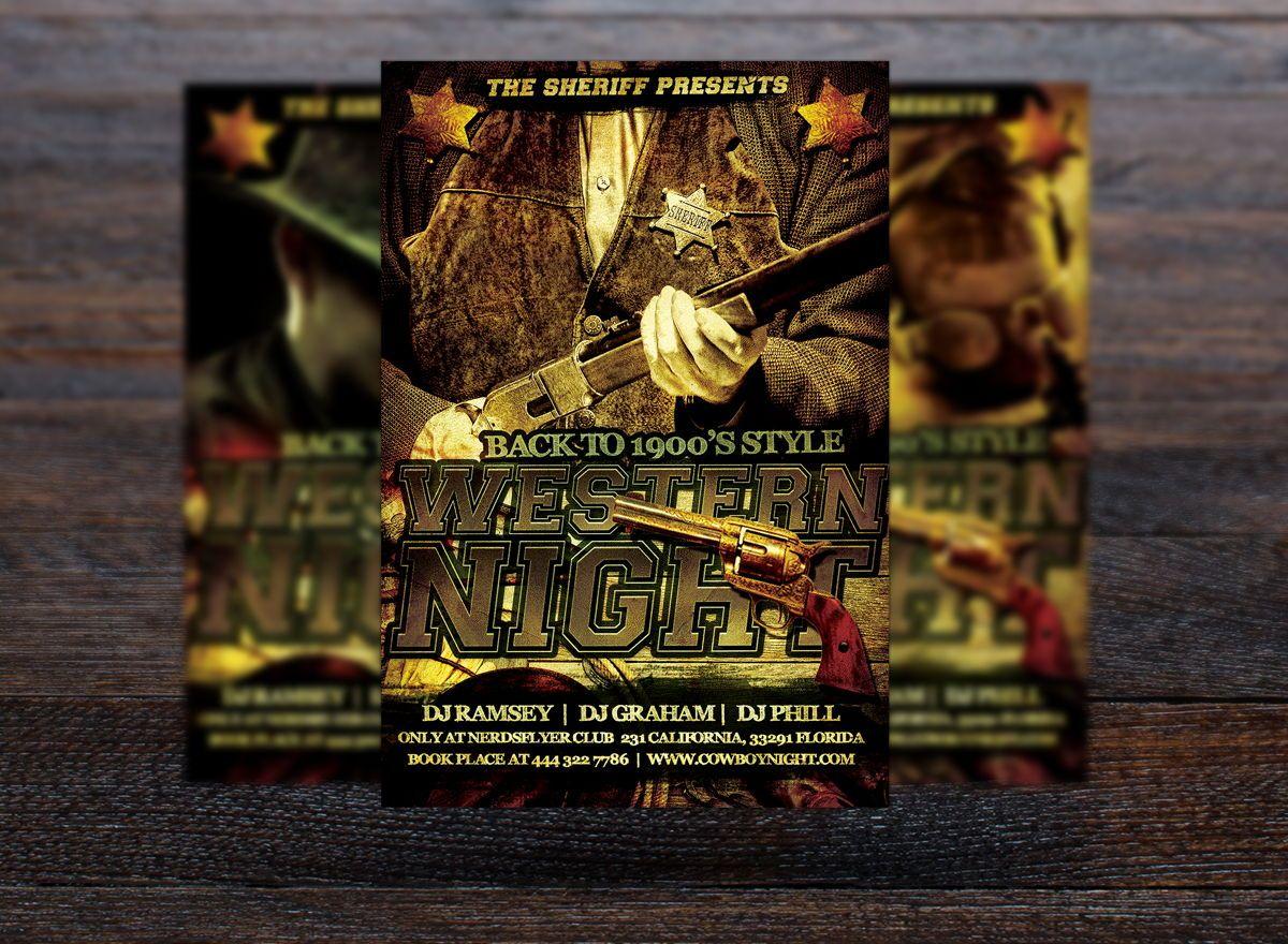 Wild Wild West Party Flyer Template, Slide 3, 08672, Art & Entertainment — PoweredTemplate.com