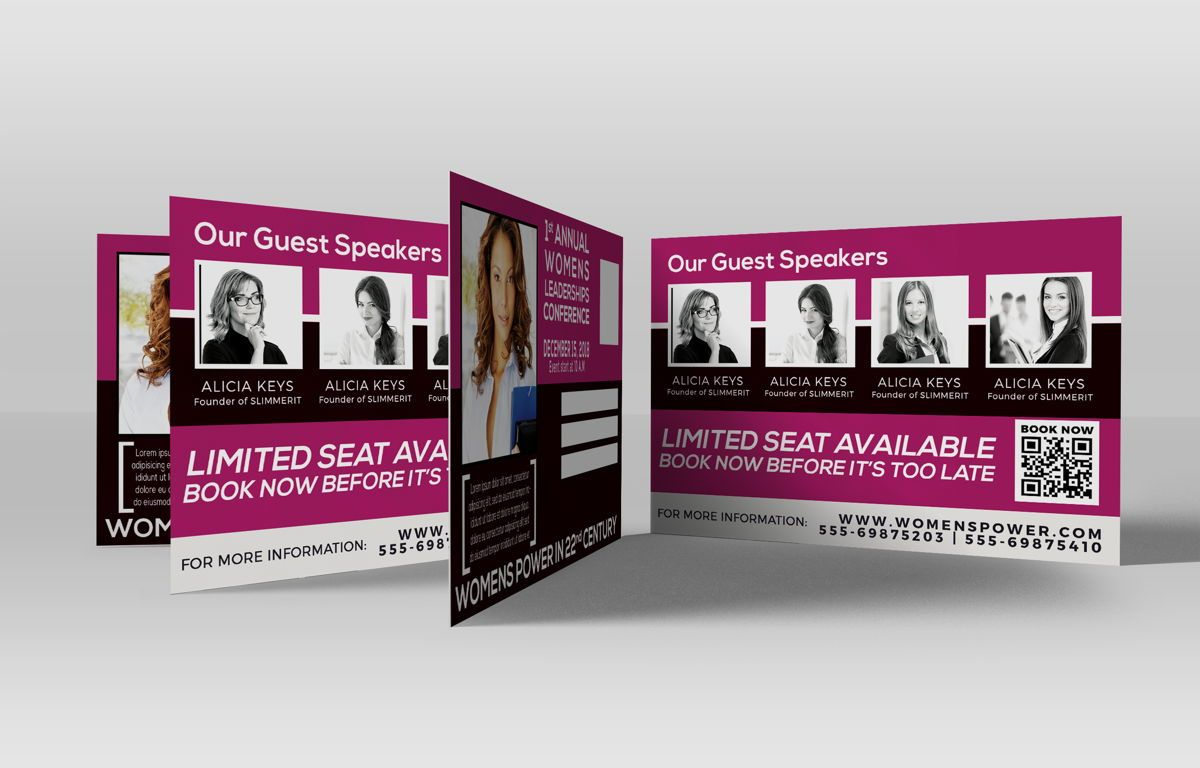 Women Conference PostCard, 08674, Business — PoweredTemplate.com