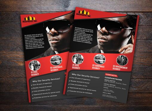 Business: Security Company Flyer Template #08676