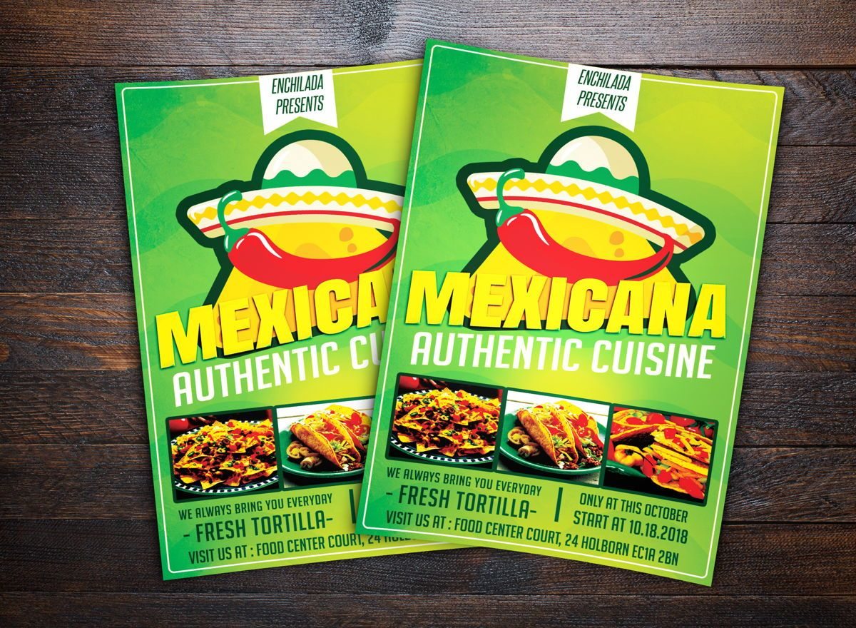 Mexican Restaurant Flyer, 08678, Food & Beverage — PoweredTemplate.com