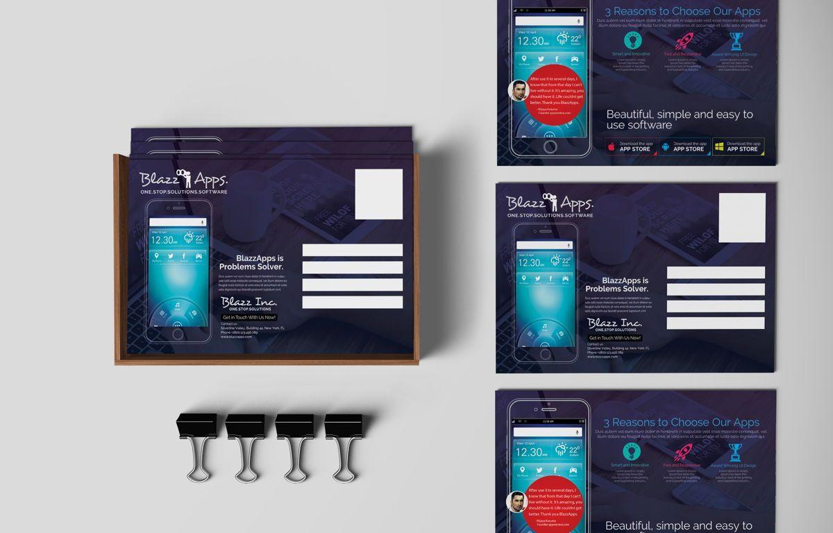 Clean Mobile Apps Promotion PostCard, 08681, Business — PoweredTemplate.com