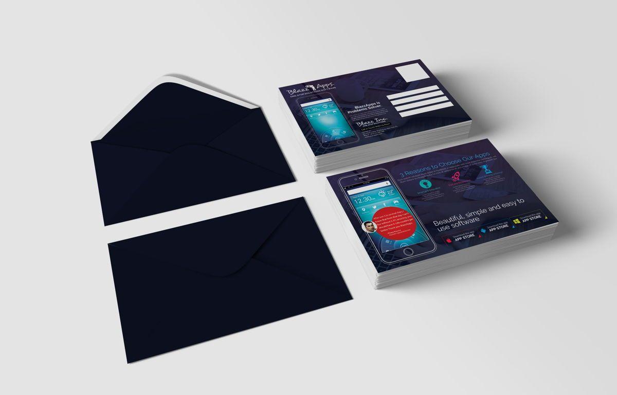 Clean Mobile Apps Promotion PostCard, Slide 2, 08681, Business — PoweredTemplate.com