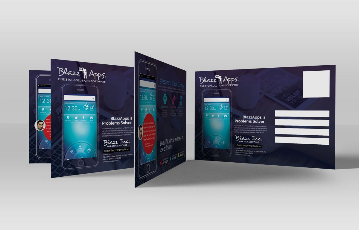Clean Mobile Apps Promotion PostCard, Slide 3, 08681, Business — PoweredTemplate.com