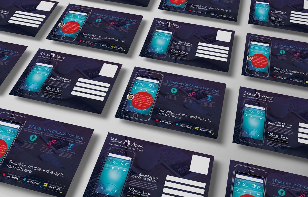 Clean Mobile Apps Promotion PostCard, Slide 5, 08681, Business — PoweredTemplate.com
