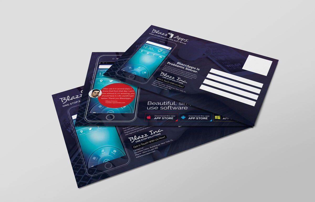 Clean Mobile Apps Promotion PostCard, Slide 6, 08681, Business — PoweredTemplate.com