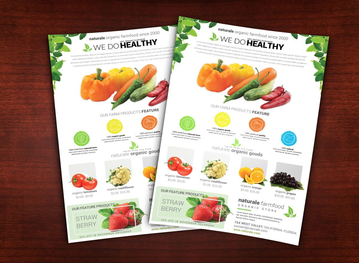 Organic Farm Flyer Template, 08682, Agriculture and Animals — PoweredTemplate.com