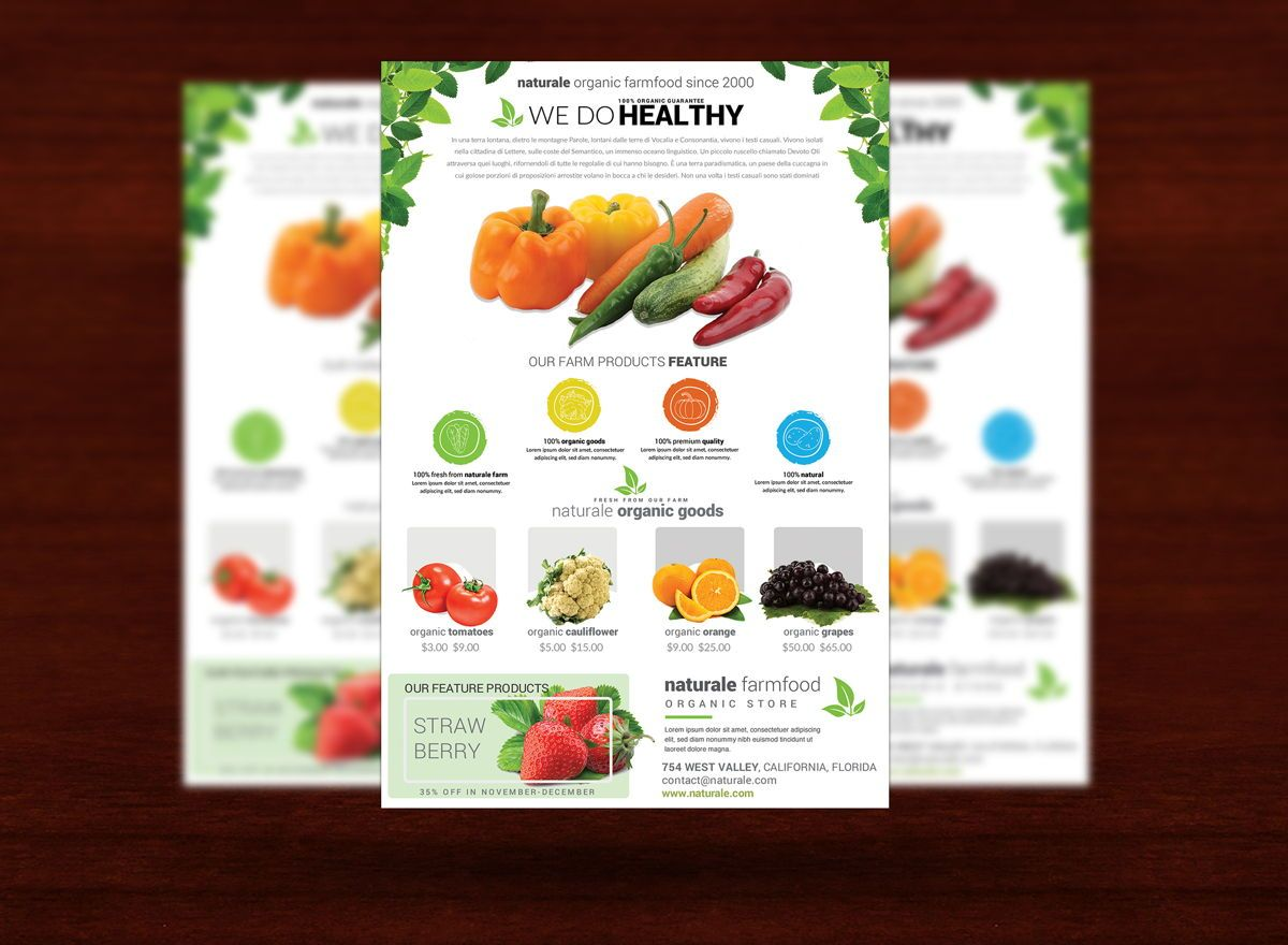 Organic Farm Flyer Template, Slide 3, 08682, Agriculture and Animals — PoweredTemplate.com