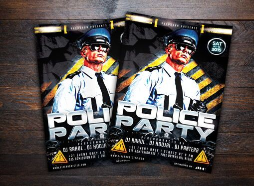 Art & Entertainment: Police Party Flyer Template #08684