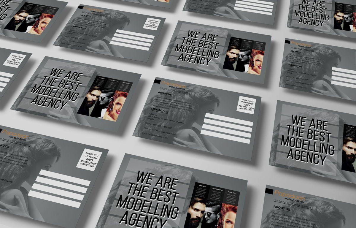 Professional Models Agency PostCard, Slide 5, 08686, Business — PoweredTemplate.com