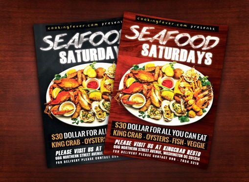 Food & Beverage: Seafood Saturdays Flyer Template #08687