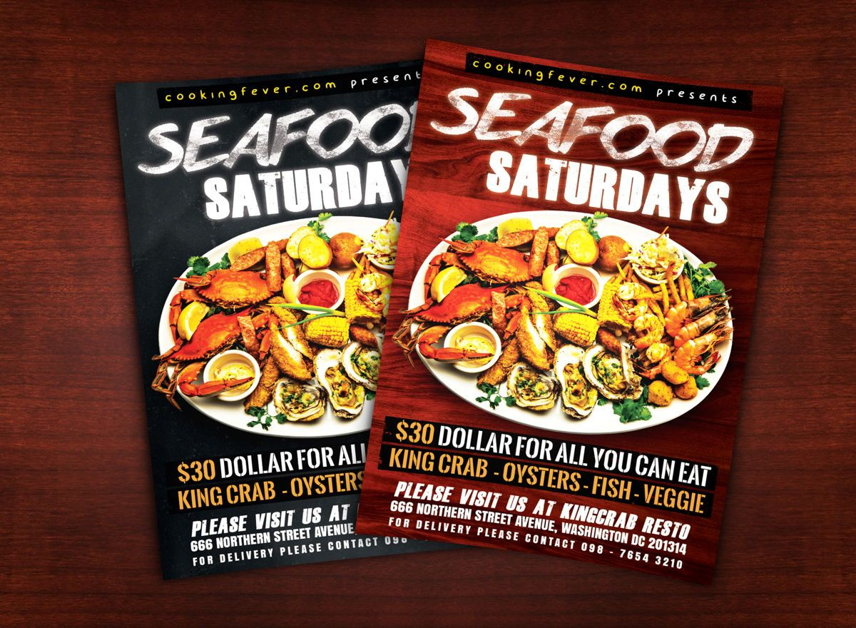 Seafood Saturdays Flyer Template, 08687, Food & Beverage — PoweredTemplate.com