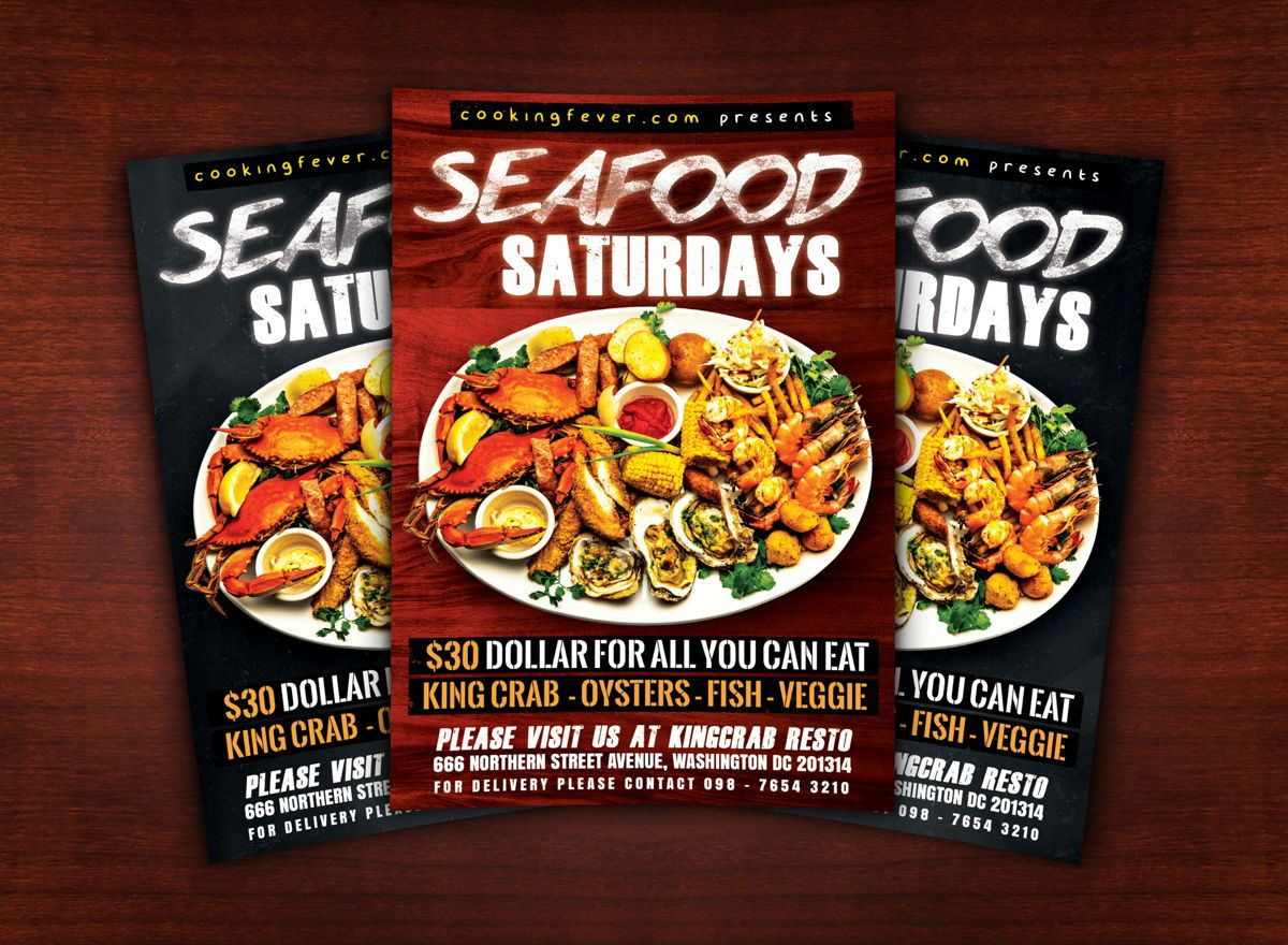 Seafood Saturdays Flyer Template, Slide 2, 08687, Food & Beverage — PoweredTemplate.com