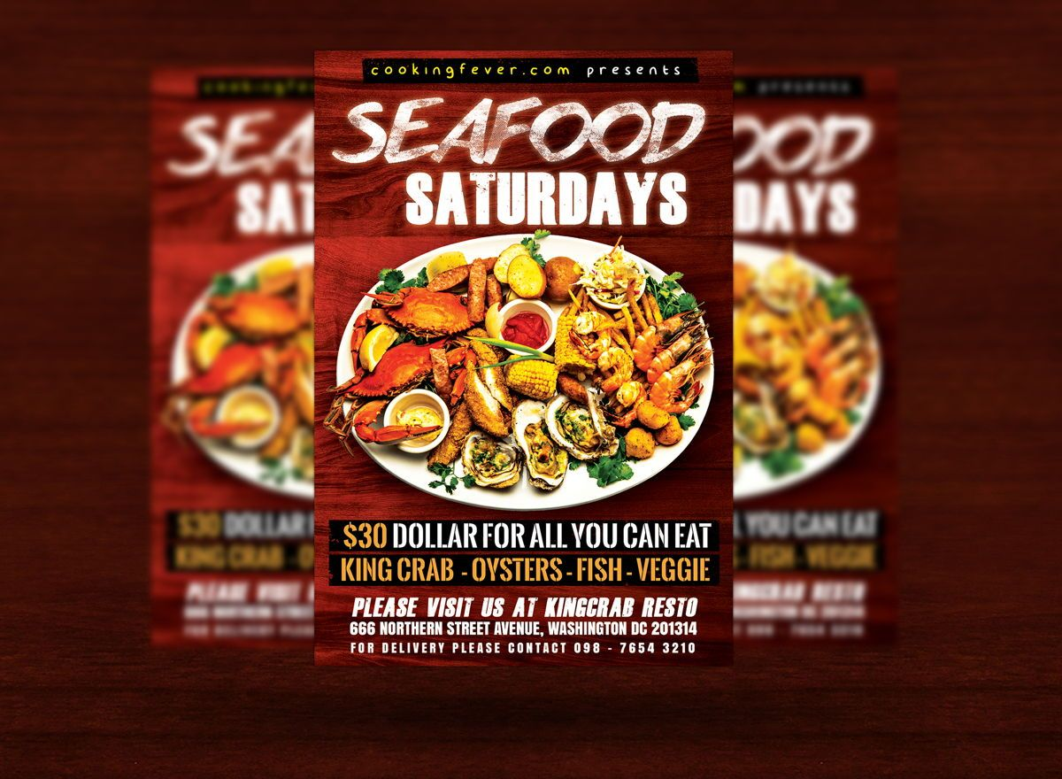 Seafood Saturdays Flyer Template, Slide 3, 08687, Food & Beverage — PoweredTemplate.com