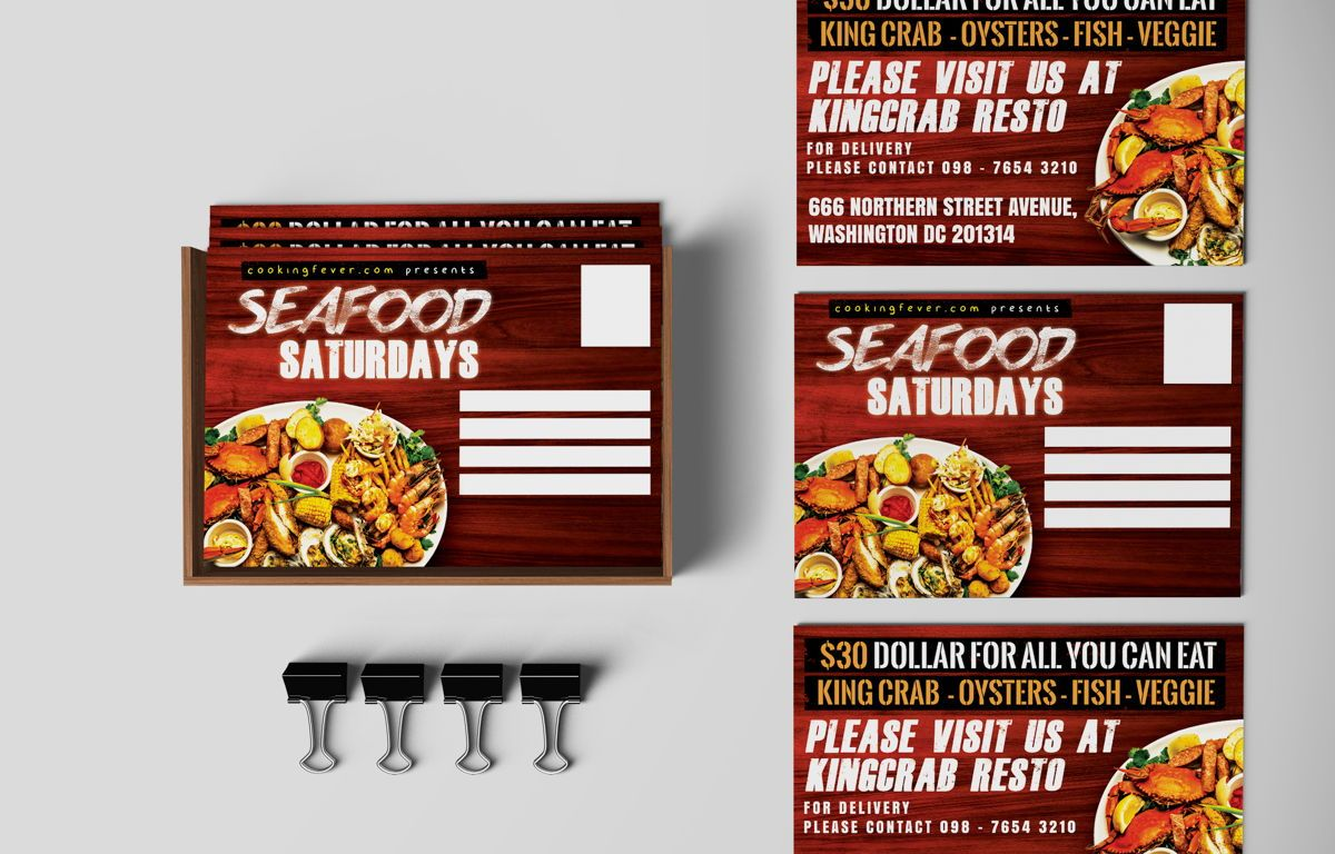 Seafood Saturdays Promotion PostCard, 08688, Food & Beverage — PoweredTemplate.com