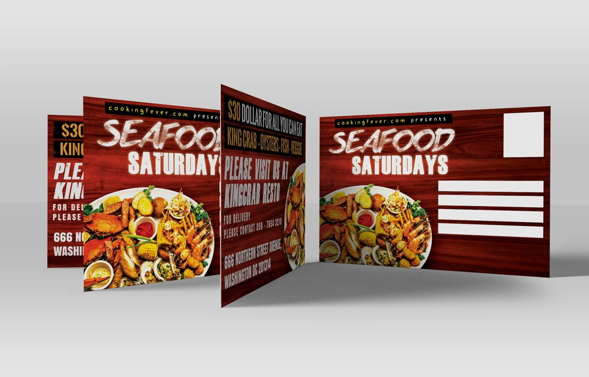Seafood Saturdays Promotion PostCard, Slide 2, 08688, Food & Beverage — PoweredTemplate.com