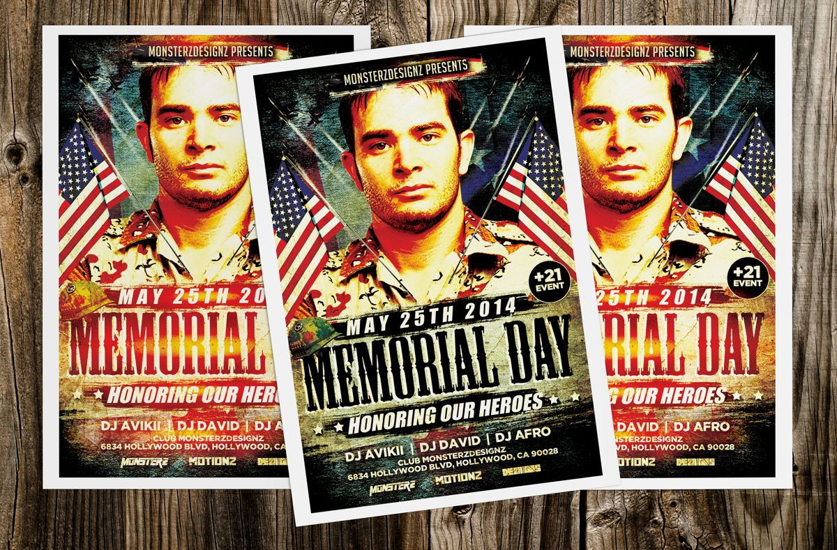 Memorial Day Party Flyer, 08690, Holiday/Special Occasion — PoweredTemplate.com