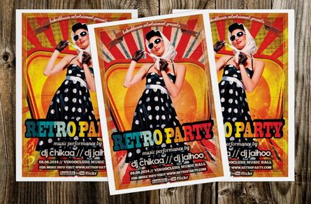 Art & Entertainment: Retro Minimal Party Flyer Template #08691