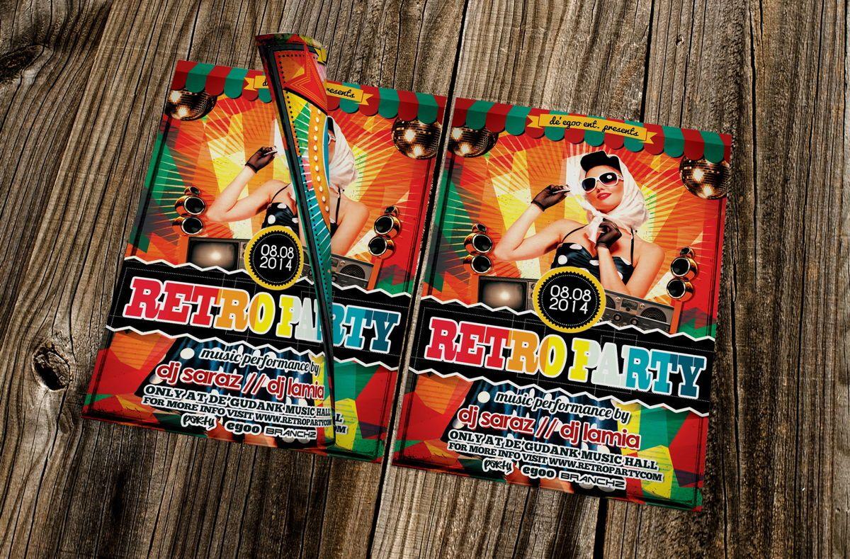 Retro Party Flyer Template, 08692, Art & Entertainment — PoweredTemplate.com